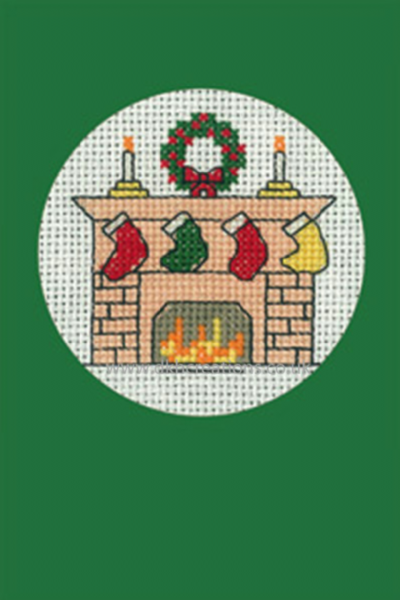 Christmas Stockings Greeting Card Green Cross Stitch Kit